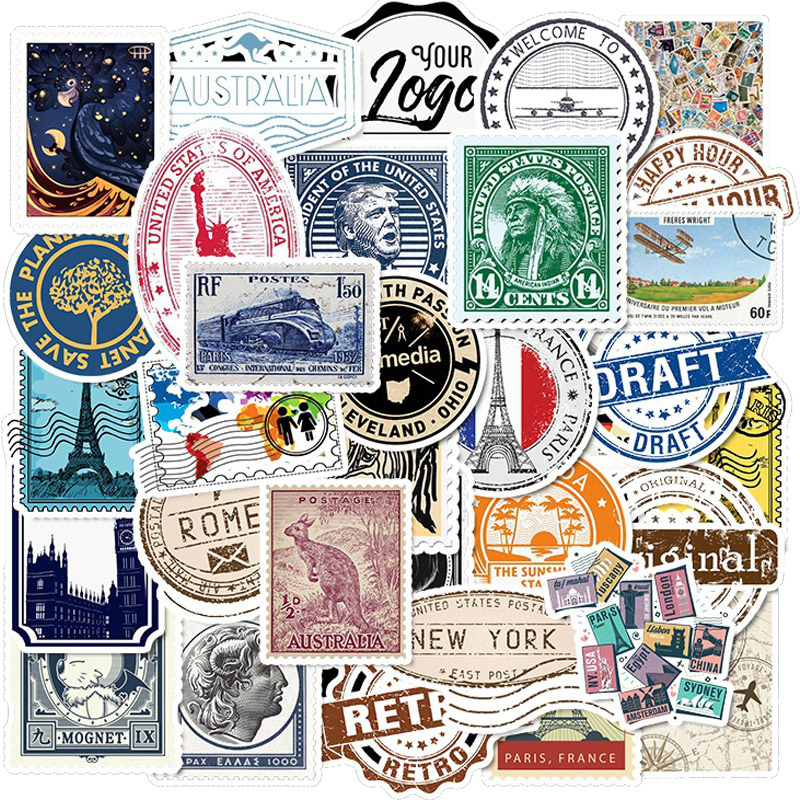 50 PCS Pack Stickers Retro Travel Letter Stamp Sticker Waterproof DIY For On Laptop Phone Skateboard Suitcase Luggage Sticker