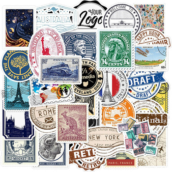 50 PCS Pack Stickers Retro Travel Letter Stamp Sticker Waterproof DIY For On Laptop Phone Skateboard Suitcase luggage - discount item  40% OFF Classic Toys