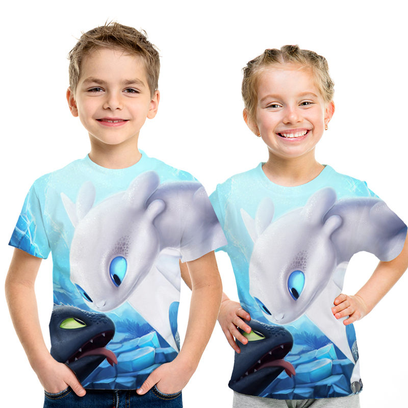 New hot sales in summer How To Train Your Dragon 3d Full Print   T     Shirt   Boy Tshirt Kids Cute Tops Cartoon Boys and Girls   T  -  shirts