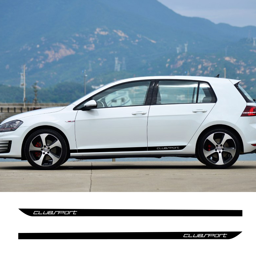 2PCS/Set Car Door Side Graphics Vinyl Stickers For Volkswagen <font><b>VW</b></font> <font><b>Golf</b></font> 7 5 4 3 6 2 1 MK7 MK5 MK2 MK6 MK4 MK1 <font><b>MK3</b></font> <font><b>GTI</b></font> Accessories image