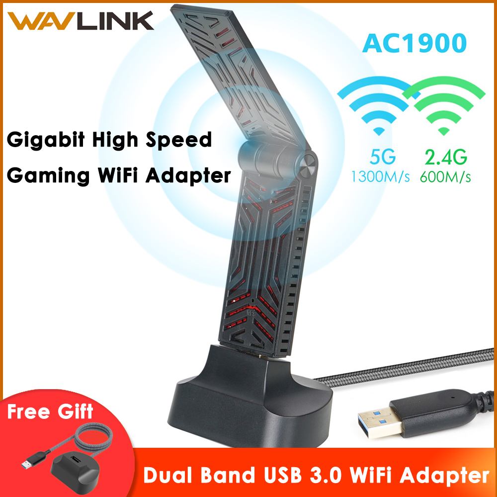 Wavlink AC1900 Dual Band USB 3.0 Wifi Adapter 1900Mbps 5.8G Wireless Wifi Receiver 2.4GHz WLAN Network Card For Windows Mac OS X image