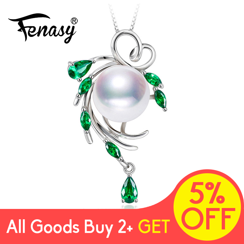 FENASY S925 Sterling Silver Freshwater Pearl Necklace For Women Pearl Jewelry Statement Boho Leaf Emerald Crystal FENASY S925 Sterling Silver Freshwater Pearl Necklace For Women Pearl Jewelry Statement Boho Leaf Emerald Crystal Necklace