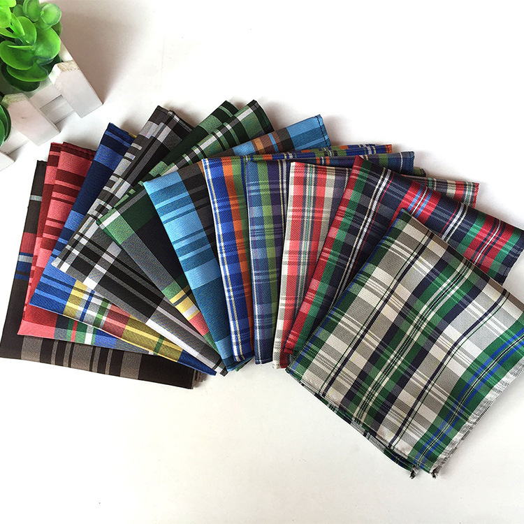 Luxury New Men's Silk Pocket Squares Silk Handkerchief Plaid Business Suit Chest Towel Men Accessories