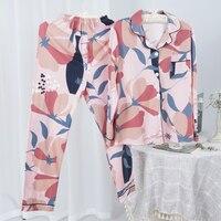 Conjunto de Pijama de algodón de manga larga para mujer, traje para casa de dos piezas, para primavera y verano