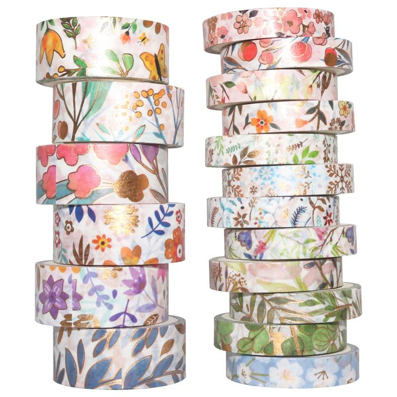 18Rolls/Set Flower Gold Foil Washi Tape Set Paper Festival DIY Scrapbooking Adhesive Masking Tape Decorative Sticky Washi Tape