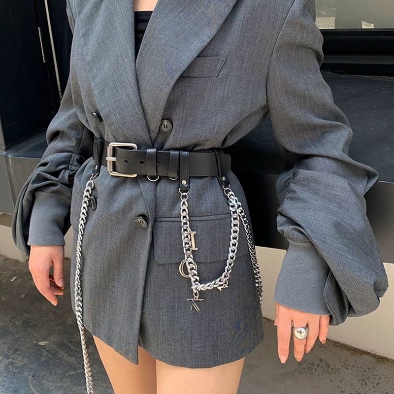 Total 96cm Gothic Style Rock Real Leather Belt Women Metal Chain Black Waist Belt Pu Leather Waist Girdle