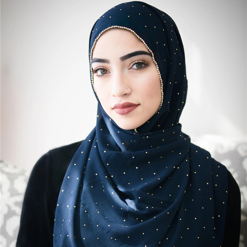 Luxury Gold Chiffon Head Scarf Solid Soft Long Muslim Scarves For Women Hijab Musulman Femme Shawl And Wrap Foulard Islamique