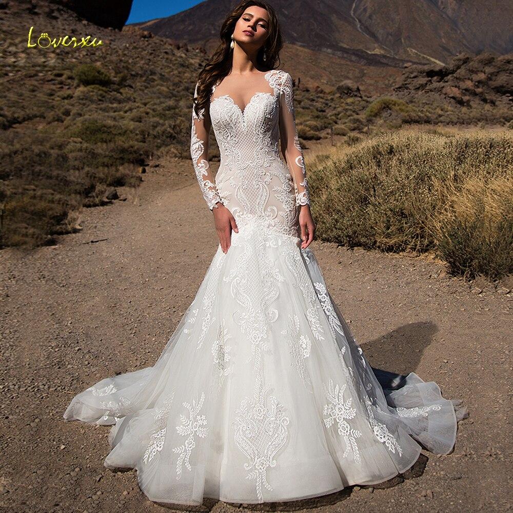 Loverxu Scoop Mermaid Wedding Dresses Elegant Appliques Long Sleeve Button Lace Bride Dresses Court Train Bridal Gowns Plus Size