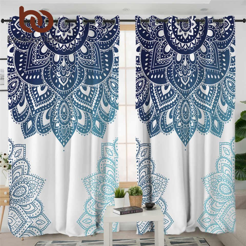 Elephant Window Curtain,Window Treatment,Rod Pocket Curtain,Bohemian Curtain,Room Decor,Living Room Decor,Mandala Curtain,Boho Curtain
