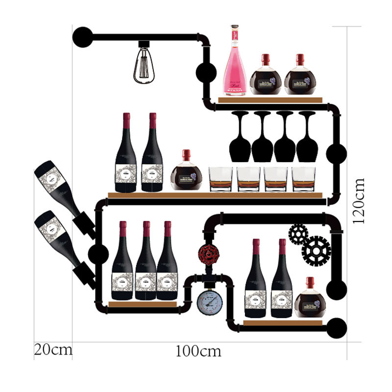 Artistic Wine Rack Set Display House Decoration Wall Mounted Shelves For Glassware Creative Bottle Organizer For Storage