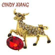Cindy xiang 2 цвета на выбор стразы бык корова брошь Китайский