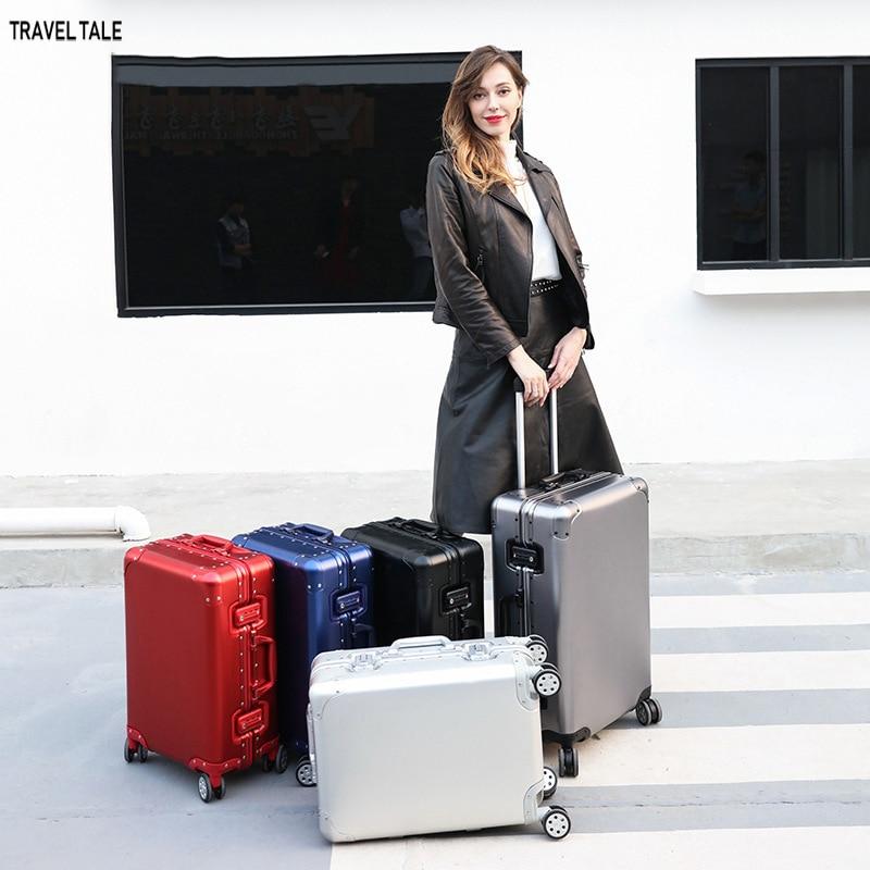 """Bagaj ve Çantalar'ten Tekerlekli Bagaj'de Seyahat masalı 20 """"24"""" 26 """"29"""" inç 100% alüminyum suticase rondela alüminyum arabası koffer bagaj seyahat'da  Grup 1"""