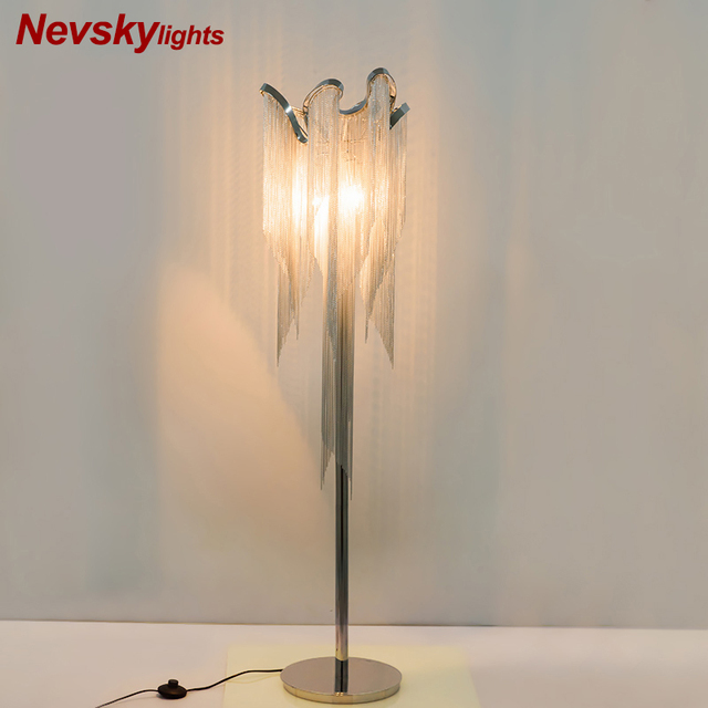 $ US $161.90 Modern silver tassel floor lamp living room led table lamp silver fringe bedroom metal floor lighting decoration kitchen fixture