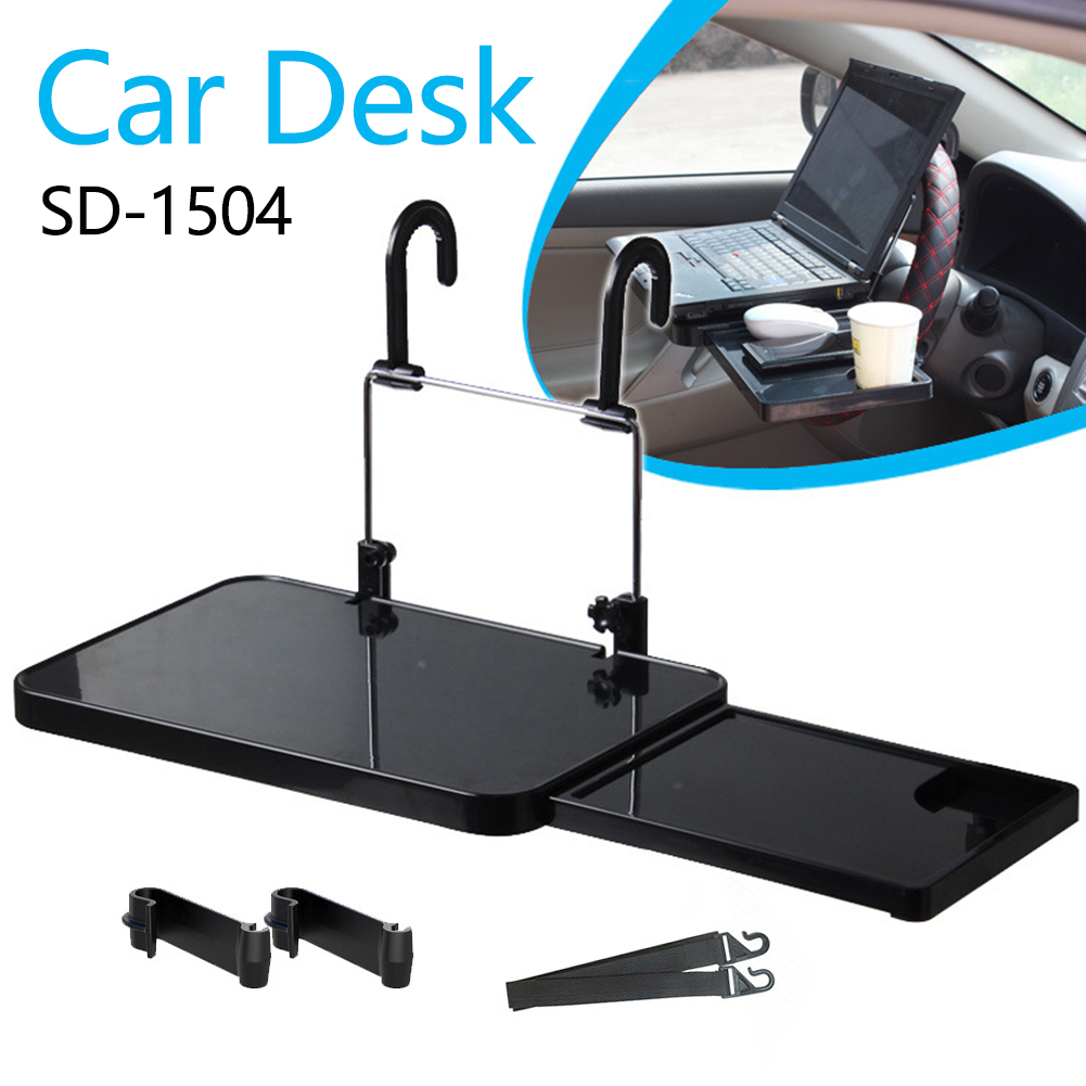 Car Steering Food Tray Desk Table Mount Holder Laptop Wheel Seat Back w/ Drawer for Caring Personal Cars Accessories