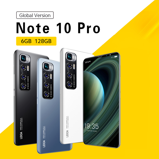 Note 10 Pro Global Version Smartphone Android 10.0 Mobile Phones 6GB+128GB Phone 6.1 Inch 4G/5G Dual Card Cell Phone Smart Phone 1