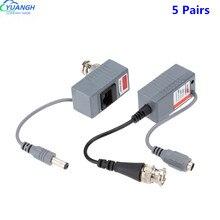 Connecteurs émetteur-récepteur bnc à rj45 mâle pour caméra de vidéosurveillance, 5 paires, pour Balum vidéo passif