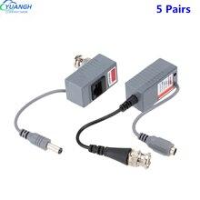 5 Pairs bnc to rj45 Video Balum Passive CCTV Coax BNC Power Transceiver Connectors to RJ45 BNC male for CCTV Camera