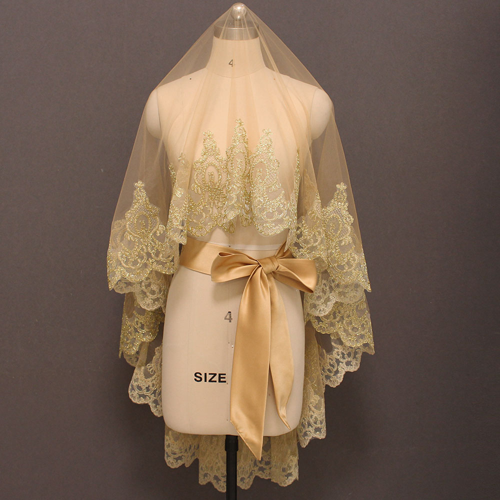 Duvak ve Kusak Ouro Bonito Lace Tulle Wedding Veil sem Comb Curto Bridal Veil Acessórios Do Casamento