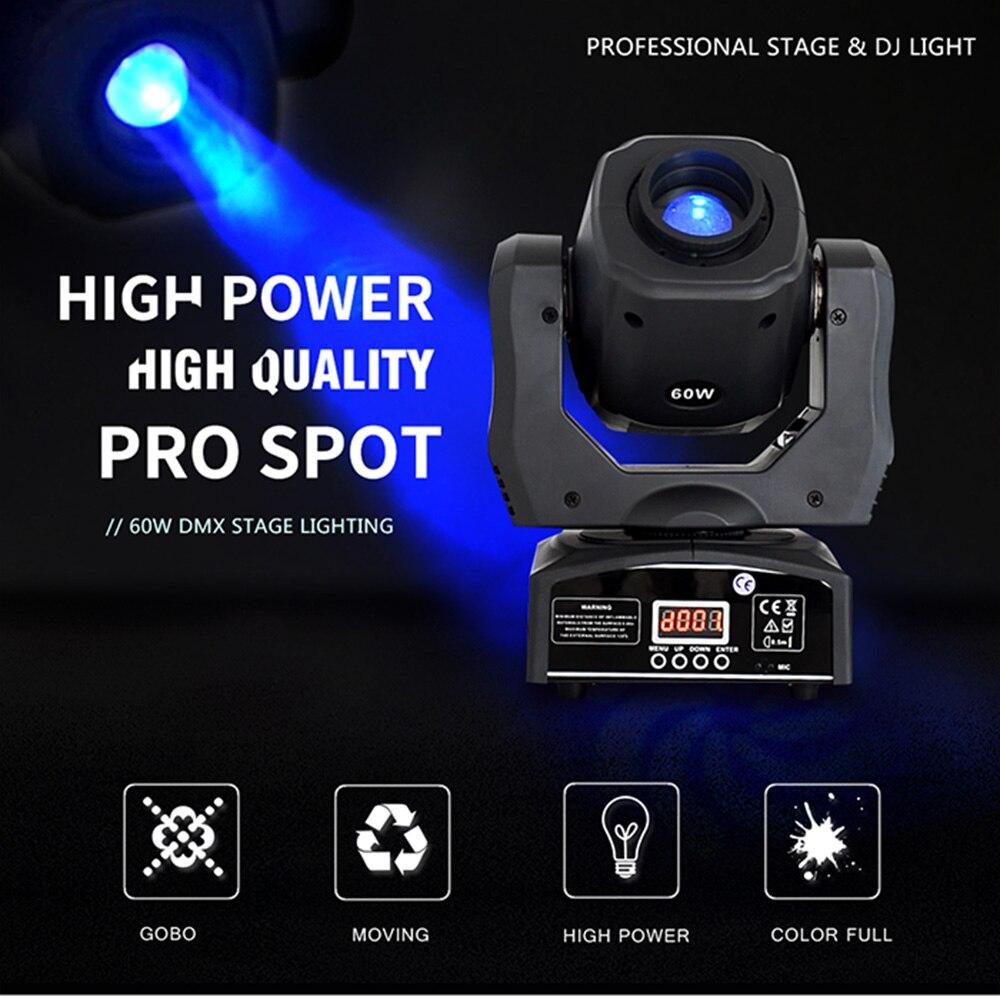 Mini Luz de escenario dj led cabeza móvil 60w punto de luz para fiesta efecto de escenario luces de discoteca Foco led portátil, recargable, batería 18650, luz de búsqueda para exteriores, Lámpara de trabajo para caza, Camping, linterna led COB