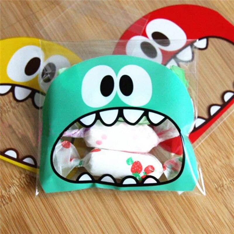 100PCs Big Teech Mouth Gift Bag Brown Big Self Adhesive Plastic OPP Bag Candy Box Cookie Gift Box Birthday New Year Xmas Navidad