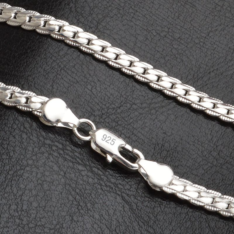 QiLeSen 925 Sterling Silver Color Fashion Men's Fine Jewelry 5mm 20 Feet 50 Cm Silver Color Necklace LN130