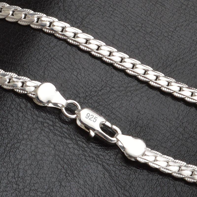 QiLeSen 925 sterling silver fashion men's Fine Jewelry 5mm 20 feet 50 cm silver necklace LN130