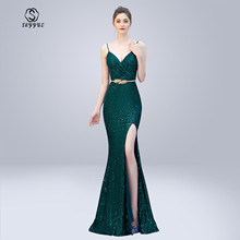 Skyyue Evening Dress Sexy Sling Sleeveless Robe De Soiree Split Women Party Dresses 2019 V-neck Sequin Formal Gowns C278