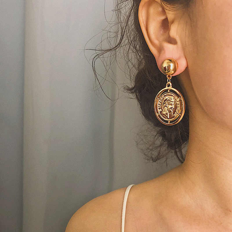 vintage personality gold color coin drop earrings for women Metal Head portrait statement earring fashion jewelry Pendient 2019