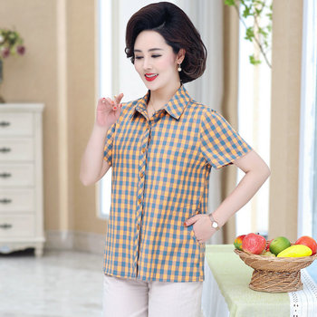 Summer Plaid Cotton Shirt Woman Casual Short Sleeve Turn Down Collar Red Yellow Brown Checked Tops Women Leisure Shirts Plus New girls plaid blouse 2019 spring autumn turn down collar teenager shirts cotton shirts casual clothes child kids long sleeve 4 13t
