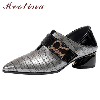 Meotina High Heels Women Shoes Natural Genuine Leather Strange Style Heel Shoes Real Leather Mixed Colors Pumps Lady Size 34-42