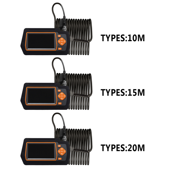 Caméra serpent Rechargeable 4.3 pouces IPS écran Endoscope étanche vidéo maison Drain Endoscope industriel 1080P HD réparation de voiture