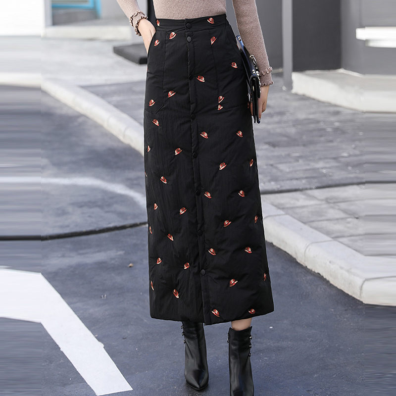 Winter Women's Down Cotton Embroidery Long Pencil Skirts 2019 Casual Elastic High Waist Thicken Plus Size Maxi Skirt Femme
