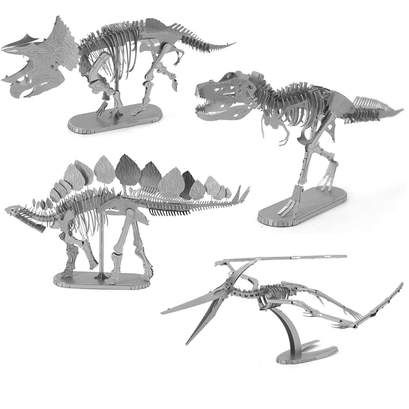 Dinosaur Skeleton 3D Metal Puzzle Model Kits DIY Laser Cut Assemble Jigsaw Toy Desktop Decoration GIFT For Adult Children