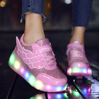 Chilis Sneakers for Girls Children's Luminous Sneakers With Wheels Kids Glowing Rechargable Lights Tenis Led Sports Shoes