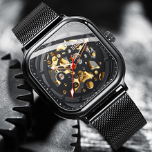 HAIQIN التلقائي ساعة ميكانيكية الجوف ساعة موضة عادية الفولاذ المقاوم للصدأ حزام ساعة اليد الرجال Relogio Masculino 2019 جديد