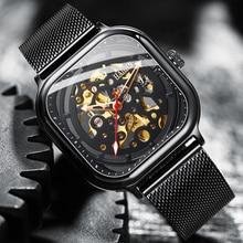 HAIQIN אוטומטי מכאני שעון חלול שעון אופנה מזדמן נירוסטה רצועת שעוני יד גברים Relogio Masculino 2019 חדש