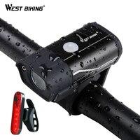 서쪽 자전거 350 루멘 자전거 전면 빛 방수 사이클링 빛 usb 충전식 측면 경고 손전등 5 모드 자전거 라이트