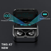 Fones de ouvido sem fio bluetooth fone de ouvido 5.0 com microfone tela led two-way chamada eliminar o ruído anti-suor com caixa de carregamento X7 TWS noise canceling headphone Earphones true wireless earbuds