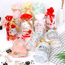 10pcs Drawstring Candy Cookies Pouches Christmas Resealable New Year Gift Bags