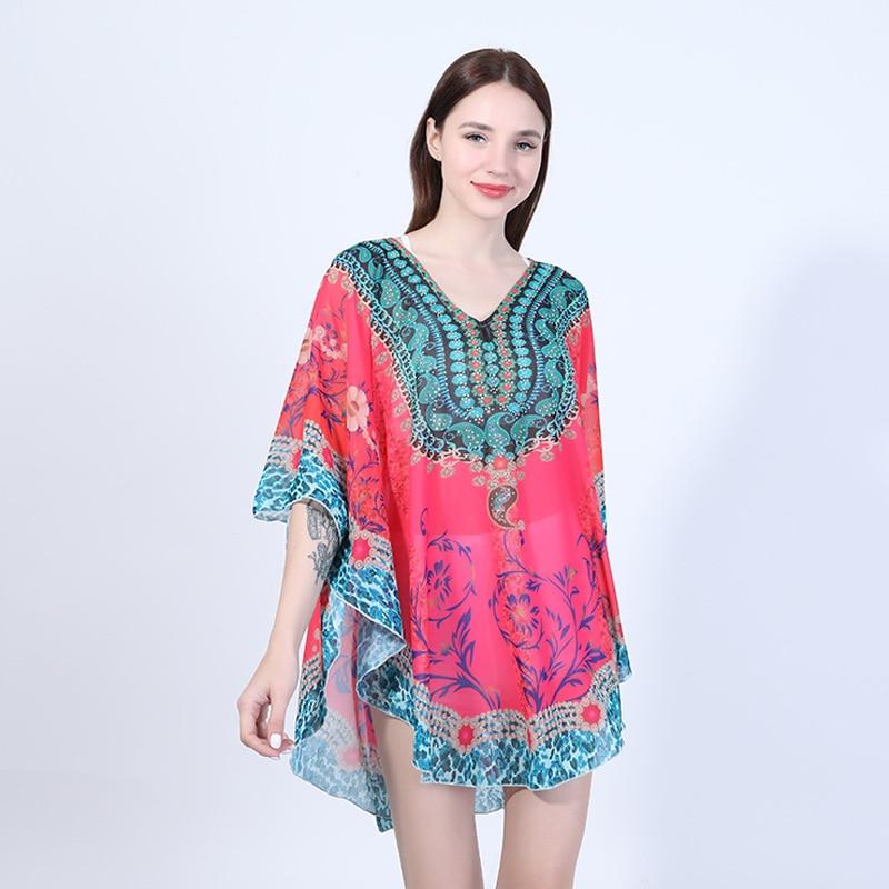 Sunscreen cape shawl women chiffon printed scarves Bohemian beach size sunscreen clothing