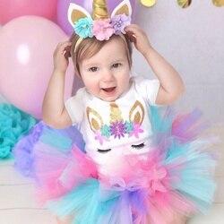 Vestido bonito do unicórnio para o bebê 1 ano menina bebê tutu vestido de algodão primeiro roupa de aniversário infantil menina 1st presente de aniversário para a festa