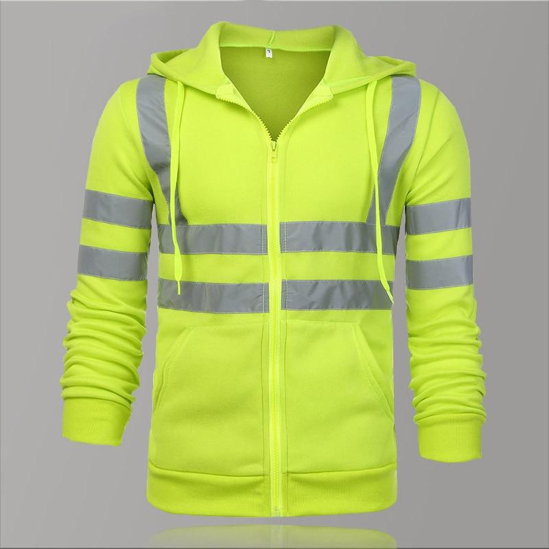 2020 Fleece Reflective Hoodies Men Winter Zipper Sweatshirts Hoodie Men Hoody Sweatshirts Male Black Hoodies For Men Workwear