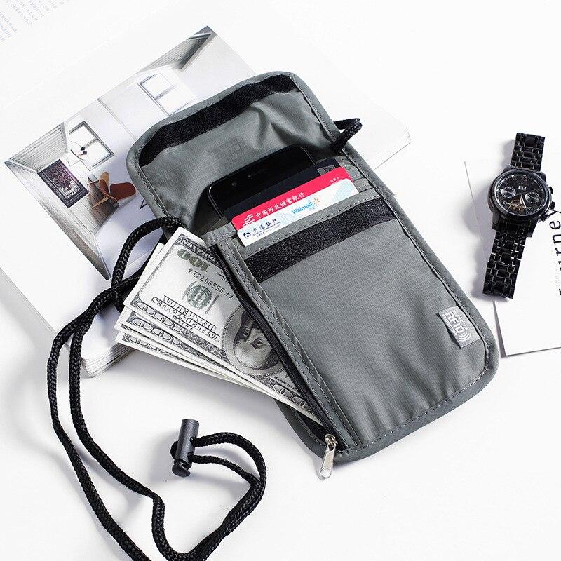 Waterproof RFID Nylon Travel Document Storage Bag Card Passport Bag Neck Wallet Money Document Card Passport Pouch