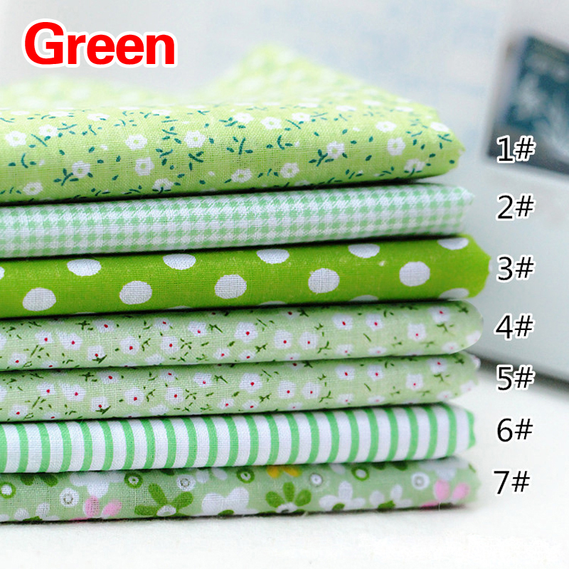 7pcs 25*25cm Square Crafts Cloth 100% Cotton Fabric Print Cloth Sewing Quilting for Patchwork Needlework DIY Handmade Material