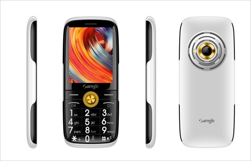 Samgle бар функция телефона 3g WCDMA Супер долгий режим ожидания большой ключ HD дисплей фонарик Lound Динамик Whatsapp скорость вызова просто - Цвет: Black-White