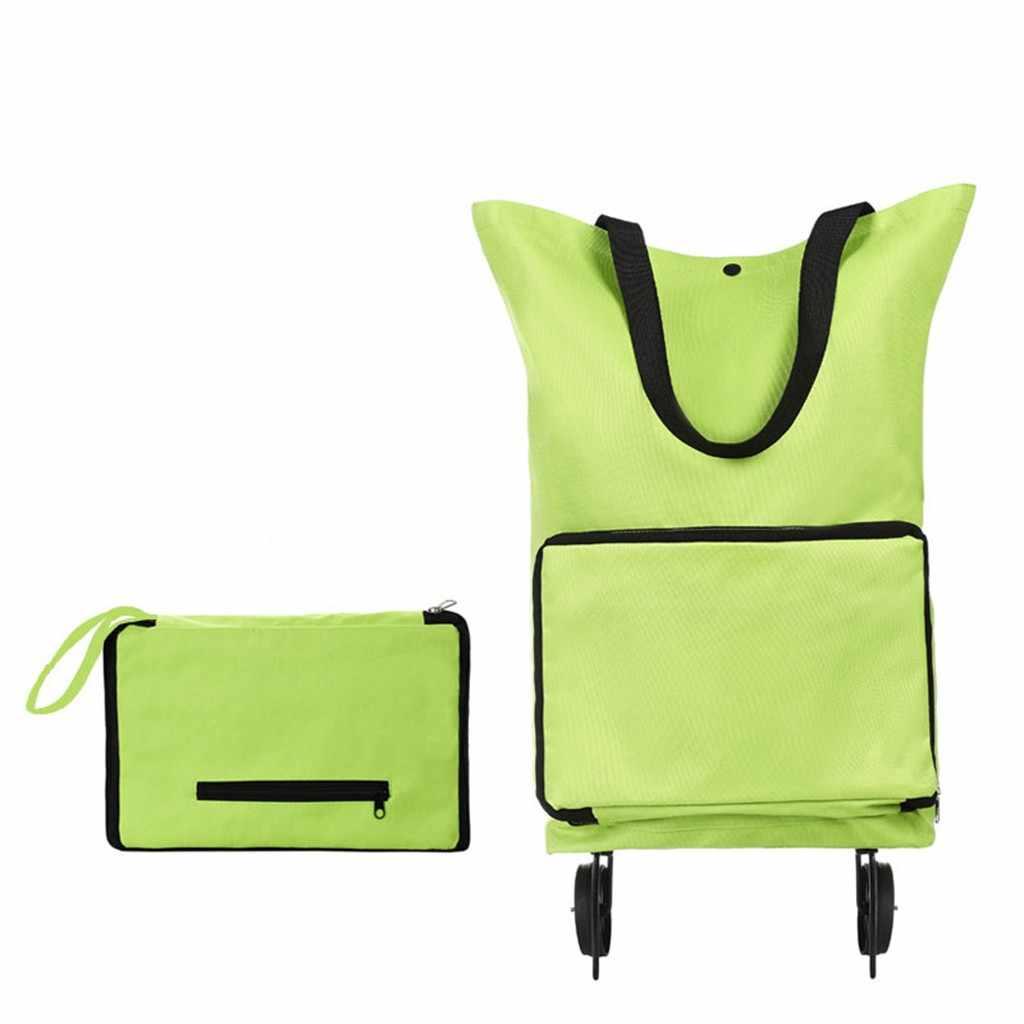 Lightweight Folding Foldable Shopping Trolley Bag Cart Grocery Handbag Tote Rolling Wheels Reusable Shopper Bags Items 2020 #R40