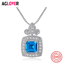 AGLOVER 925 Sterling Silver Square Pendant Necklace Highlight Woman CZ Blue Large Zircon Wedding Engagement Glamour Jewelry