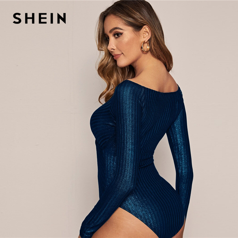 SHEIN Navy Cross Wrap Front Glitter Bodysuit Women Spring Stretchy Long Sleeve V-neck Mid Waist Skinny Glamorous Bodysuits 2