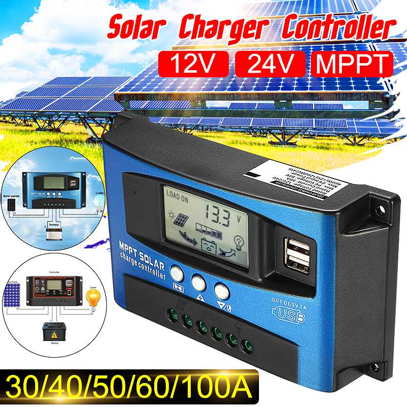 30 40 50 60 100a 12v 24v mppt controladores solares controlador de carga solar automatico display