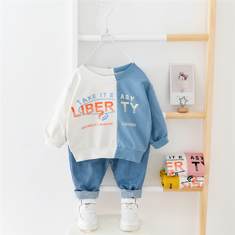 HYLKIDHUOSE 2020 Spring Baby Girls Boys Clothing Sets Patchwork T Shirt Jeans Casual Toddler Infant Clothes Children Clothing
